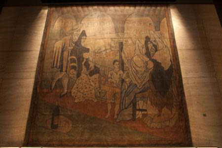 """A 19-by-20-foot theater curtain """"Le Tricorne"""" painted by Pablo Picasso in 1919 hangs at the Four Seasons restaurant in New York City"""