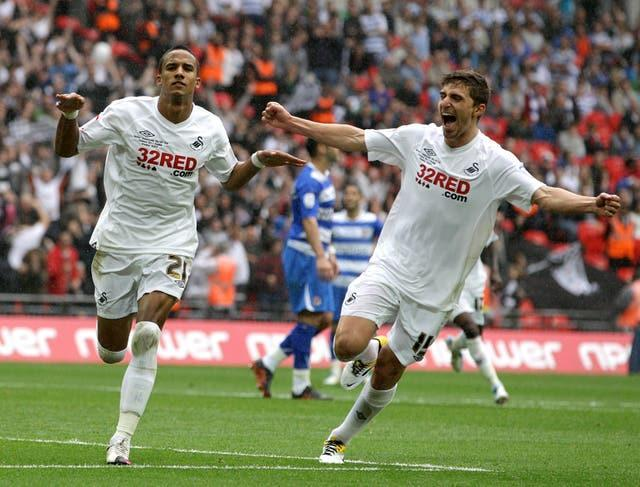 Scott Sinclair (left) scored a hat-trick in Swansea's 4-2 Championship play-off final victory against Reading