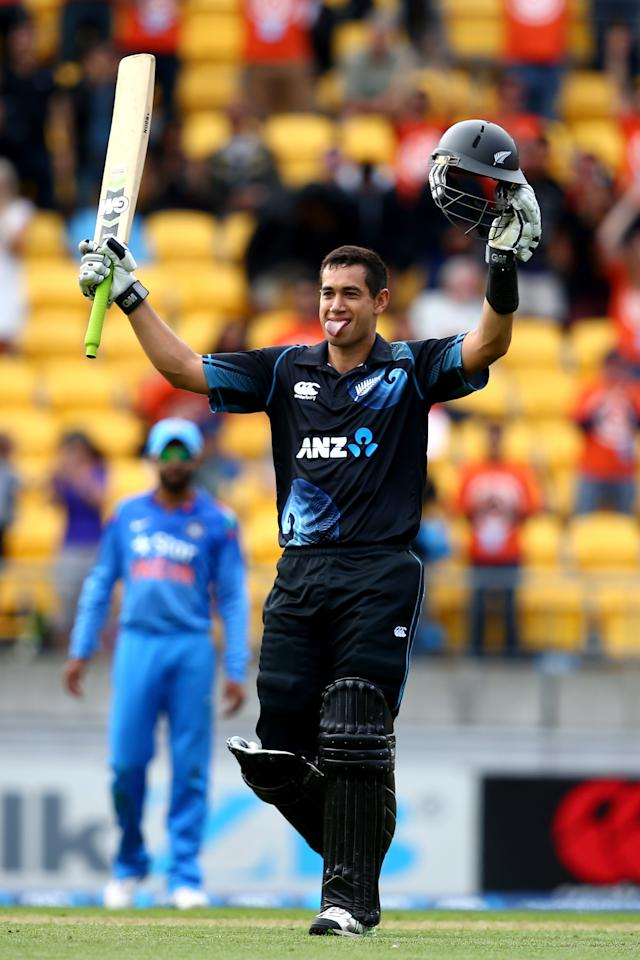 WELLINGTON, NEW ZEALAND - JANUARY 31:  Ross Taylor of New Zealand celebrates his century during Game 5 of the men's one day international between New Zealand and India at Westpac Stadium on January 31, 2014 in Wellington, New Zealand.  (Photo by Phil Walter/Getty Images)
