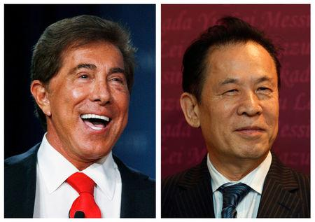 Combination photo from file photos show Wynn Resorts CEO Steve Wynn and Universal Entertainment Corporation CEO Kazuo Okada