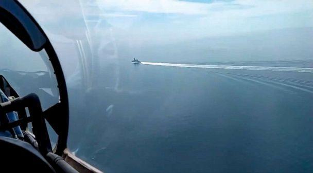 PHOTO: In this grab taken from a video released by the Russian Defense Ministry Press Service on Wednesday, June 23, 2021, a view of the British destroyer HMS Defender as it sails near Crimea in the Black Sea. (Russian Defense Ministry Press Service via AP)