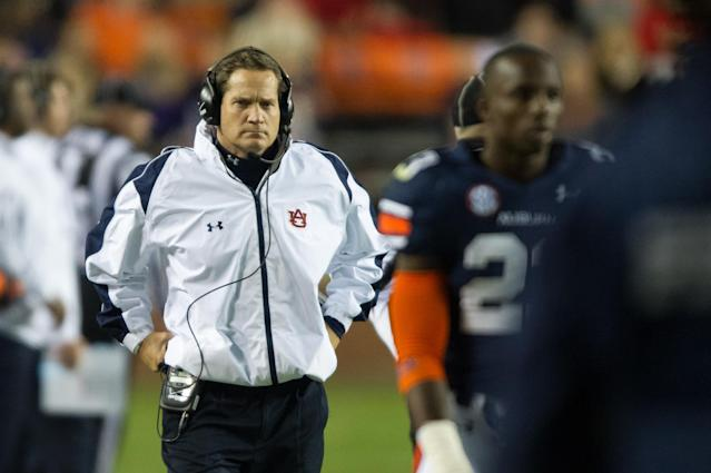 AUBURN, AL - NOVEMBER 10: Head coach Gene Chizik of the Auburn Tigers paces on the sideline during their game against the Georgia Bulldogs on November 10, 2012 at Jordan-Hare Stadium in Auburn, Alabama. Georgia defeated Auburn 38-0 and clinched the SEC East division. (Photo by Michael Chang/Getty Images)