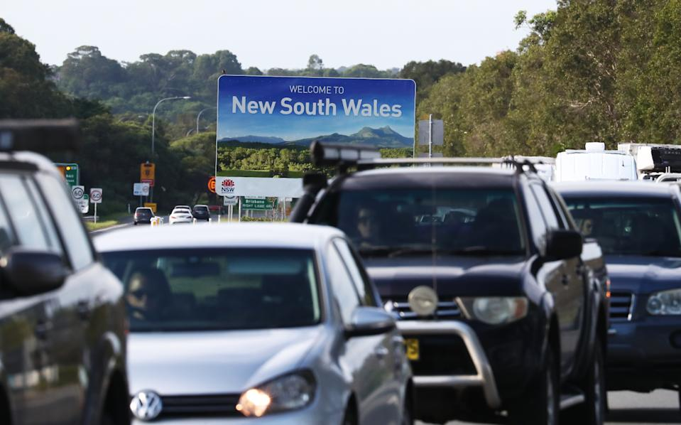 Traffic at the Queensland border. Anyone entering the state and not abiding by the rules will be penalised. Source: AAP