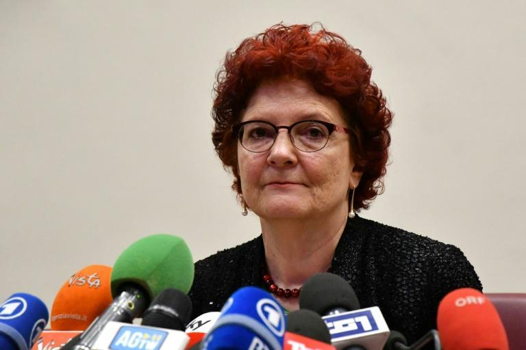 Andrea Ammon, director of the Stockholm-based European Centre for Disease Prevention and Control, has warned that Covid-19 could 'remain with us' indefinitely; she is seen here in a February 26, 2020 briefing in Rome
