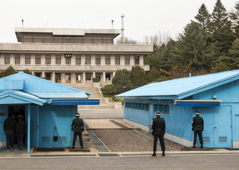 This Joint Security Area at the DMZ managed by both North and South Korea.