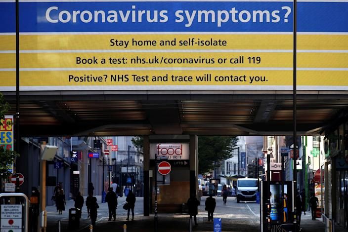 An information screen is pictured in Manchester as the city and the surrounding area faces local restrictions in an effort to avoid a local lockdown being forced upon the area amid the coronavirus disease (COVID-19) outbreak in Britain, July 31, 2020. REUTERS/Phil Noble