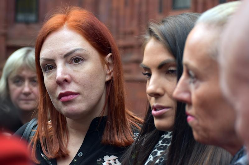Dog owners (left to right) Rebecca Parsons, April Lock and Liz Egan, speaking outside Birmingham Magistrates' Court after the woman who lost their dogs, Louise Lawford, was banned from keeping the animals for five years.