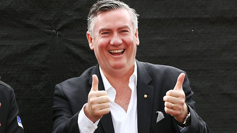 Pictured here, Collingwood president Eddie McGuire gives his two thumbs up.