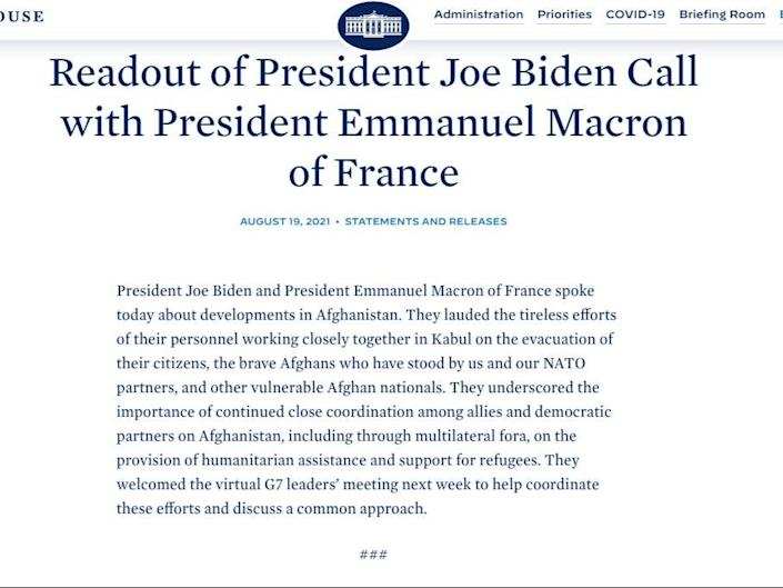Readout of President Joe Biden's call with French President Emmanuel Macron on crisis in Afghanistan. (The White House)