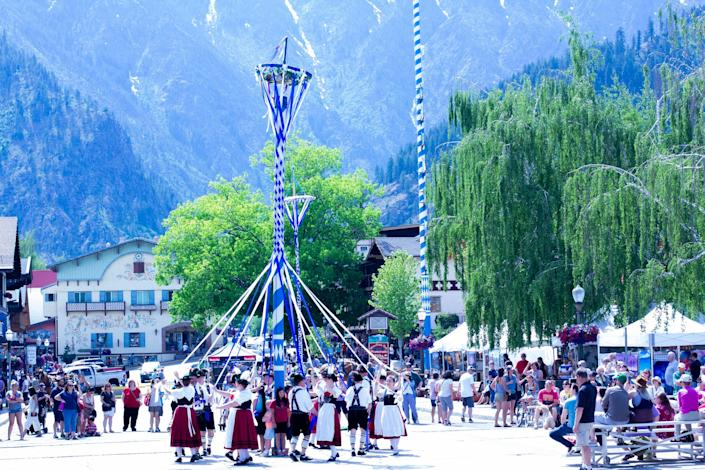 Leavenworth, Washington, is so Bavarian that there's even a maypole in the town square that's covered in the colors of the German state's flag.