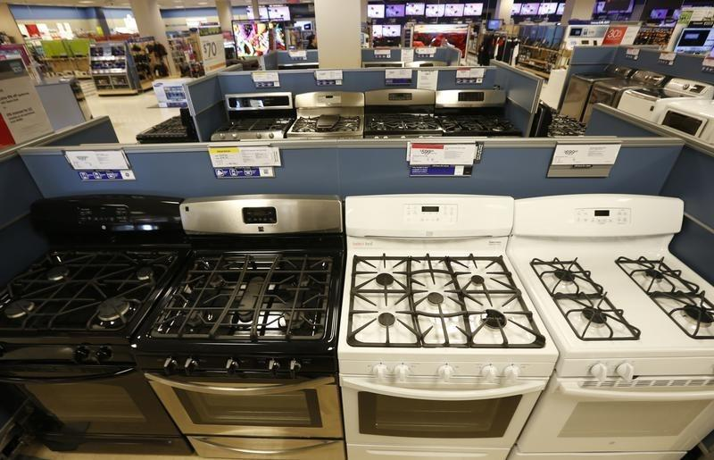 Stoves and other appliances are seen on display at a Sears store in Schaumburg, Illinois, near Chicago