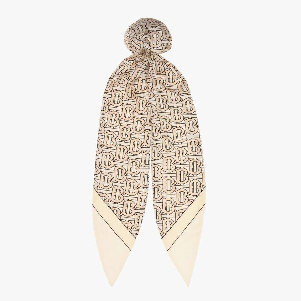 "Secure a scarf that will turn any messy bun into a work of art. $260, MYTHERESA. <a href=""https://www.mytheresa.com/en-us/burberry-logo-silk-twill-hair-scarf-1263892.html?catref=category"" rel=""nofollow noopener"" target=""_blank"" data-ylk=""slk:Get it now!"" class=""link rapid-noclick-resp"">Get it now!</a>"