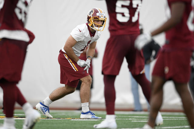 Washington Redskins wide receiver Vinny Papale lines up for a drill during an NFL football rookie camp, Saturday, May 11, 2019, in Ashburn, Va. (AP Photo/Nick Wass)