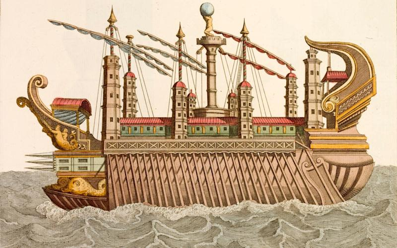 An 18th-century print of a royal barge as used by Caligula - Corbis Historical