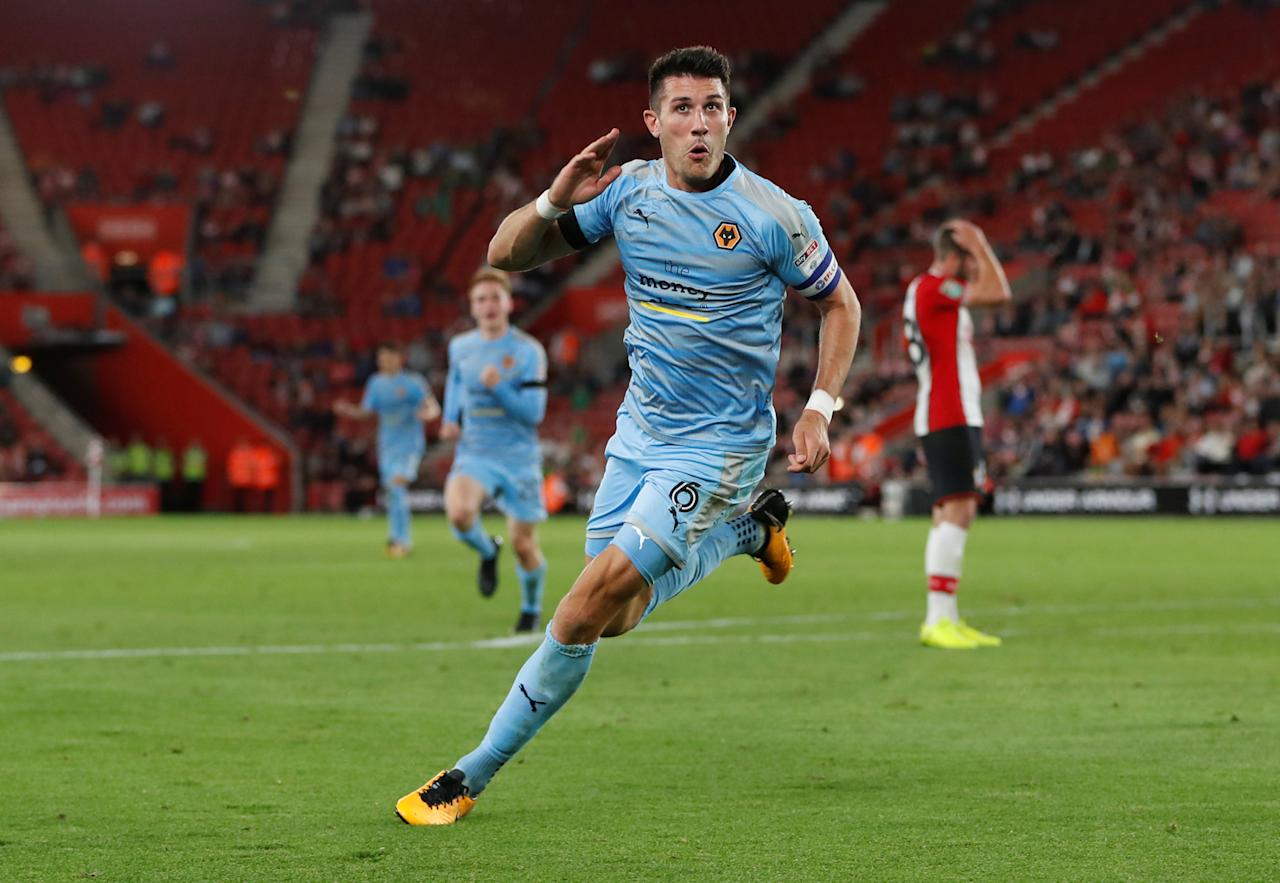 "Football Soccer - Carabao Cup - Second Round - Southampton vs Wolverhampton Wanderers - Southampton, Britain - August 23, 2017   Wolverhampton Wanderers' Danny Batth celebrates scoring their first goal    Action Images via Reuters/Paul Childs     EDITORIAL USE ONLY. No use with unauthorized audio, video, data, fixture lists, club/league logos or ""live"" services. Online in-match use limited to 45 images, no video emulation. No use in betting, games or single club/league/player publications. Please contact your account representative for further details."