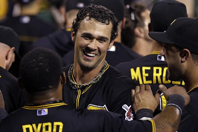 Pittsburgh Pirates' Garrett Jones, center, celebrates with teammates after hitting a solo home run off St. Louis Cardinals starting pitcher Shelby Miller (40) during the fourth inning of a baseball game in Pittsburgh Friday, Aug. 30, 2013. (AP Photo/Gene J. Puskar)