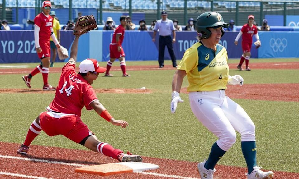 Japan's Minori Naito, reacts after getting Australia's Stacey McManus out during the hosts' 8-1 victory in Fukushima.