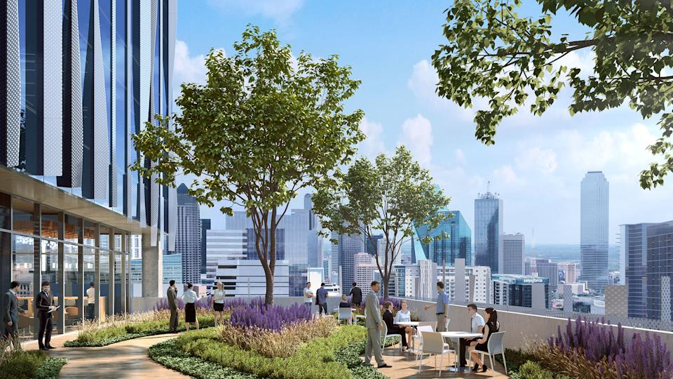 The rooftop terrace and garden offers awe-inspiring views of the Dallas skyline