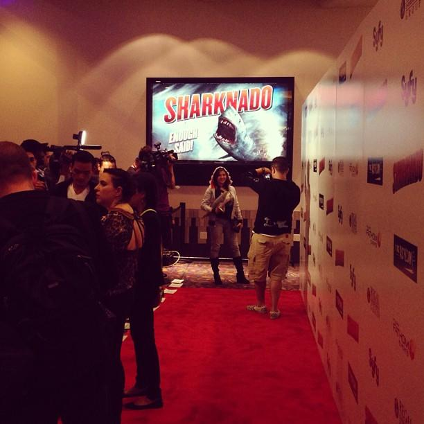 #SharkNado red carpet is ready to rock n roll. Plus one fan who's really into it. #cosplay