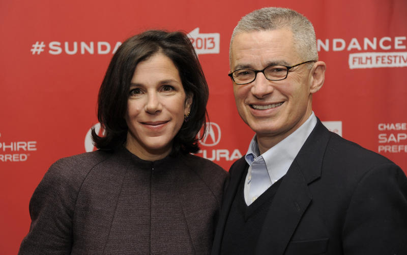 """Alexandra Pelosi, left, director of  HBO Documentary Films' """"Fall to Grace,"""" poses with the film's subject, former New Jersey Gov. Jim McGreevey, before a screening of the film at the 2013 Sundance Film Festival, Friday, Jan. 18, 2013, in Park City, Utah. (Photo by Chris Pizzello/Invision/AP)"""