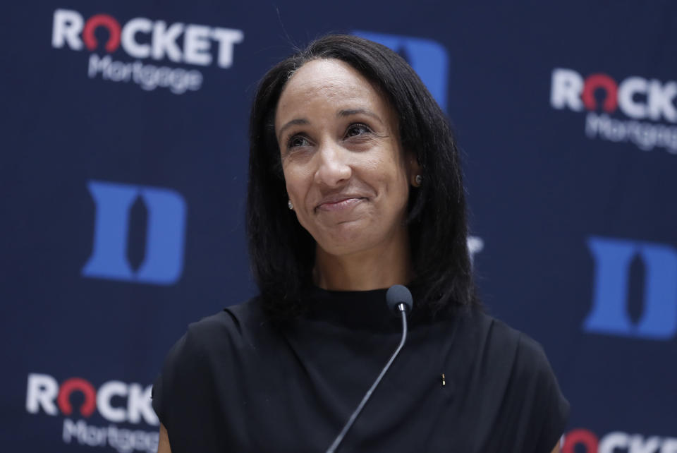 Nina King reacts to the applause from the audience during a press conference where she was introduced as Duke's new athletic director, Friday, May 21, 2021, at Cameron Indoor Stadium in Durham, N.C. (Ethan Hyman/The News & Observer via AP)