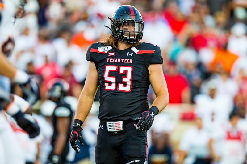 LUBBOCK, TEXAS - SEPTEMBER 07: Defensive lineman Eli Howard #53 of Texas Tech looks to the sideline during the first half of the college football game between the Texas Tech Red Raiders and the UTEP Miners on September 07, 2019 at Jones AT&T Stadium in Lubbock, Texas. (Photo by John E. Moore III/Getty Images)
