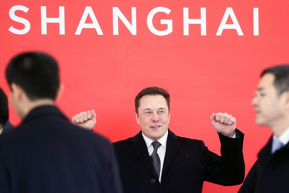In this photo taken Monday, Jan. 7, 2019, and released by Xinhua News Agency, Tesla CEO Elon Musk attends the groundbreaking ceremony of the Tesla Shanghai factory in Shanghai, China. Musk said Monday on Twitter that the automaker is breaking ground for a Shanghai factory and will start production of its Model 3 by the end of the year. (Ding Ting/Xinhua via AP)