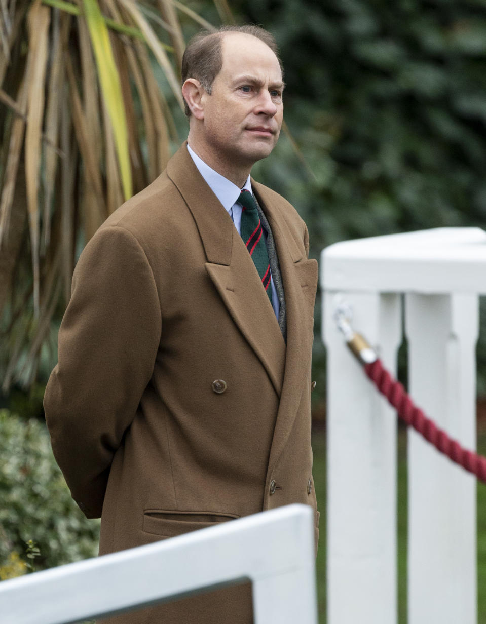 TWICKENHAM, ENGLAND - DECEMBER 10: Prince Edward, Earl of Wessex visits the Corps of Army Music for a renaming ceremony and short parade at Kneller Hall on December 10, 2020 in Twickenham, England. The Countess of Wessex is Colonel in Chief of the regiment. (Photo by UK Press Pool/UK Press via Getty Images)