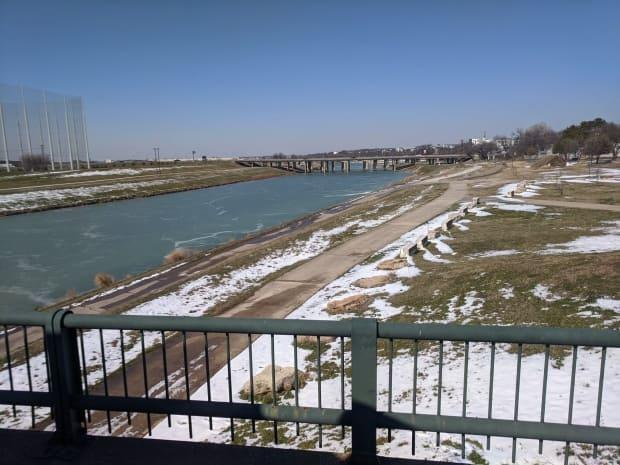 Craig Macvarish says ice was freezing on the river in Fort Worth, Texas.