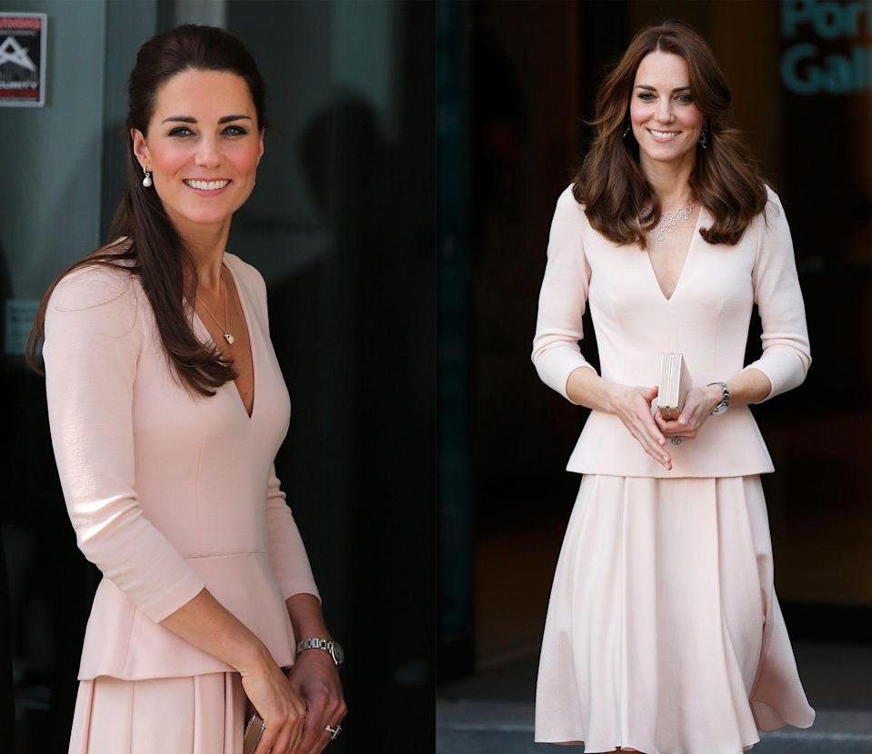 <p>This pink peplum Alexander McQueen dress was first worn by Duchess Kate in April 2014 and made a reappearance in May 2016. </p>