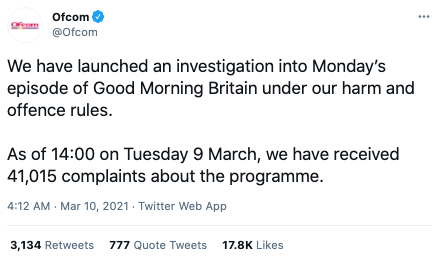 Screenshot of a tweet by Ofcom confirming they had 'launched an investigation' into the GMA episode where Piers Morgan said he 'didn't believe a word' Meghan Markle said about her mental health and other topics