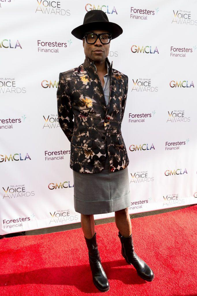 <p>Porter at the seventh annual Voice Awards in a floral-printed blazer, a gray straight skirt, heeled calf-high leather boots, and a wide-brim hat. </p>