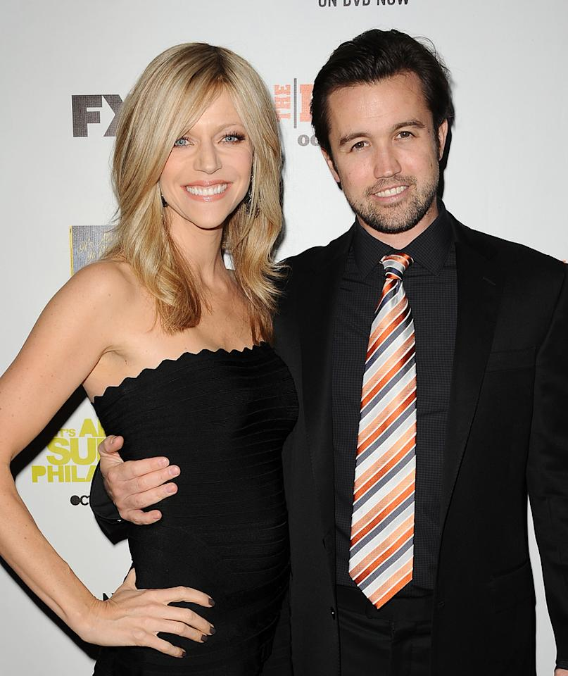 "HOLLYWOOD, CA - OCTOBER 09:  Actress Kaitlin Olson and actor Rob McElhenney attend the FX season premiere screenings for ""It's Always Sunny In Philadelphia"" and ""The League"" at ArcLight Cinemas Cinerama Dome on October 9, 2012 in Hollywood, California.  (Photo by Jason LaVeris/FilmMagic)"