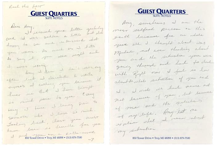 Two pages of Michael Jordan's 1989 love letter to Amy Hunter.