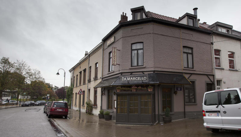 The restaurant Da Marcello is seen in Neder-over-Heembeek, Belgium on Friday, Oct. 26, 2012. Belgian authorities are seeking the public's help in solving the killing of an executive for ExxonMobil, the world's largest oil company, who was shot to death in front of his wife nearly two weeks ago on a street in a suburb of the Belgian capital of Brussels. Nicholas Mockford, a British national, was shot on Oct. 14 as he left the Italian restaurant in Neder-over-Heembeek. Belgian authorities declined to provide information on the crime, which they said was common in investigations of serious crimes. (AP Photo/Virginia Mayo)