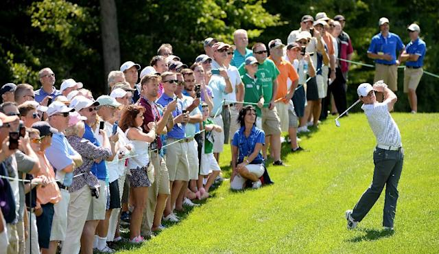 Rory McIlroy of Northern Ireland in action during the pro-am event prior to the Deutsche Bank Championship at the TPC Boston on August 28, 2014 in Norton, Massachusetts (AFP Photo/Ross Kinnaird)