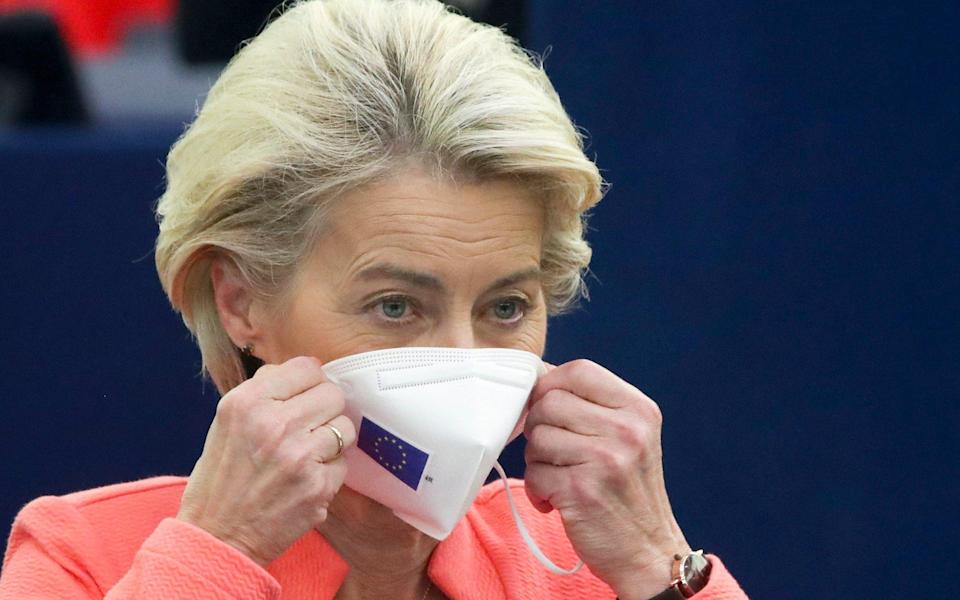 European Commission President Ursula von der Leyen puts on her protective face mask after delivering a State of the Union Address at the European Parliament in Strasbourg, France, Wednesday, Sept. 15, 2021 - Yves Herman/ Pool Reuters