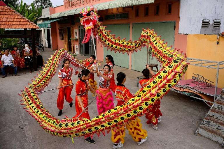 The Tu Anh Duong lion and dragon dance troupe will show off their stunts during Tet, the Vietnamese New Year holiday