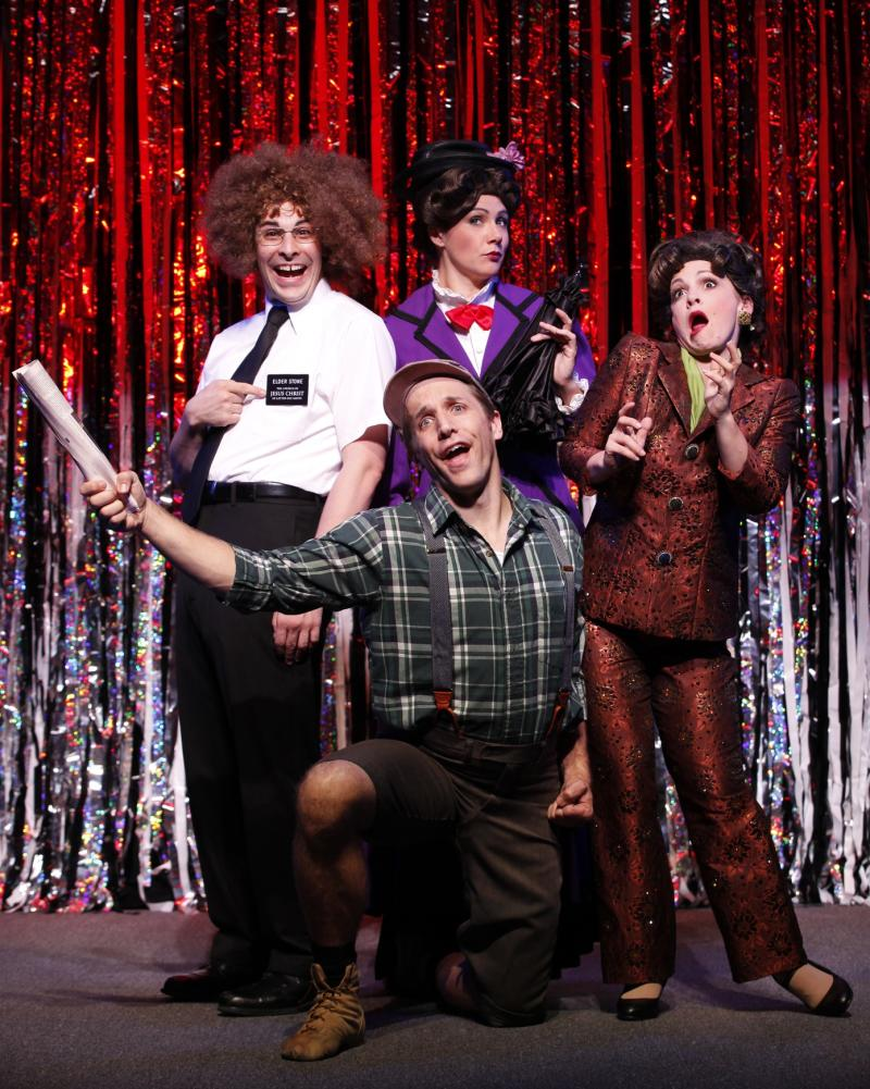 "This publicity photo released by Glenna Freedman Public Relations shows, clockwise from left, Marcus Stevens, Natalie Charle Ellis, Jenny Lee Stern and Scott Richard Foster, kneeling, in a scene from Gerard Alessandrini's ""Forbidden Broadway: Alive & Kicking"" now performing off-Broadway at the 47th Street Theatre in New York.  (AP Photo/Glenna Freedman PR, Carol Rosegg)"