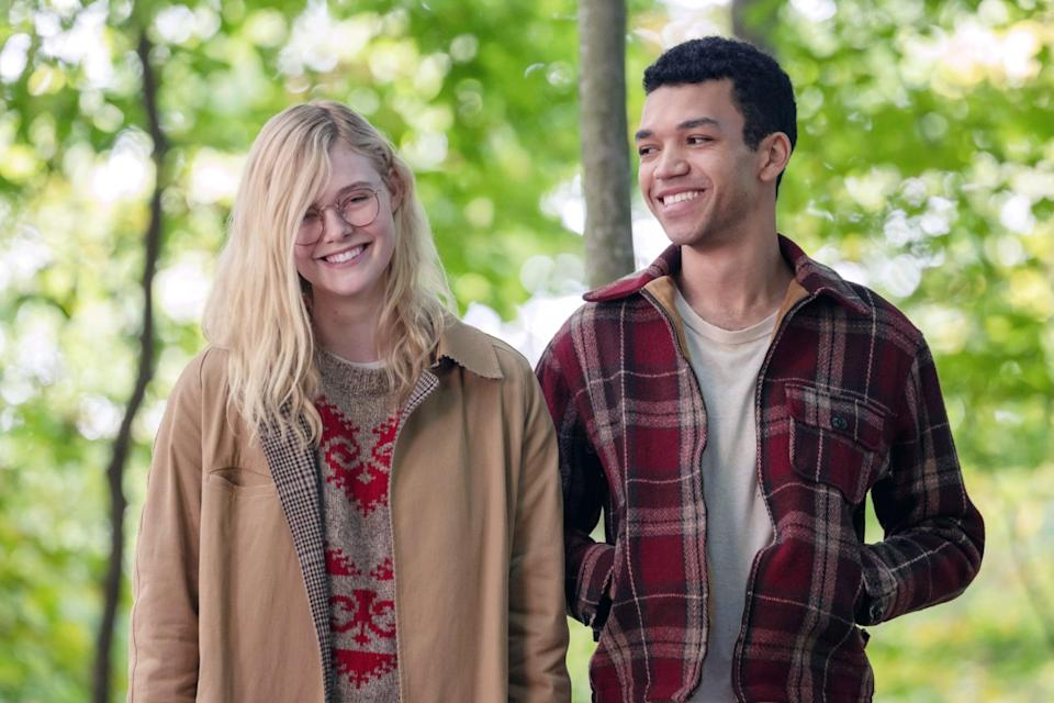 """<p>Two teens, Theodore and Violet live a boring life troubled by their past in Indiana. Violet helps Theodore through his family's abuse and he helps her with the death of her sister. The two fall in love after spending most of their time together and find happiness within each other. </p> <p><a href=""""https://www.netflix.com/title/80208802?source=35"""" class=""""link rapid-noclick-resp"""" rel=""""nofollow noopener"""" target=""""_blank"""" data-ylk=""""slk:Watch All the Bright Places on Netflix now."""">Watch <strong>All the Bright Places</strong> on Netflix now.</a></p>"""