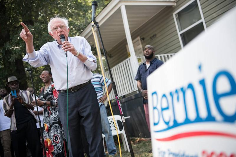 Democratic presidential candidate, Sen. Bernie Sanders, talks to a crowd in the Booker Washington Heights neighborhood Sunday, Aug. 18, 2019, in Columbia, S.C. The candidate held multiple campaign events in the Midlands on Sunday.