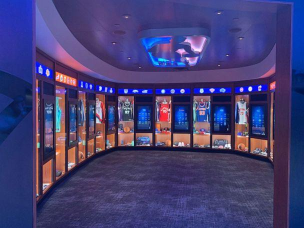 PHOTO: The locker room at the NBA Experience holds real jerseys from all of the NBA and WNBA teams. (Shannon McLellan/ABC)
