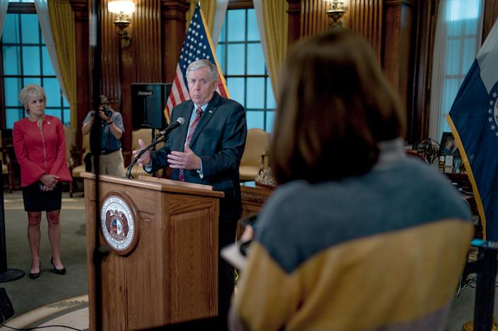 Gov. Mike Parson responds to a media question during a press conference to discuss the status of license renewal for the St. Louis Planned Parenthood facility on May 29, 2019 in Jefferson City, Missouri. (Jacob Moscovitch/Getty Images)