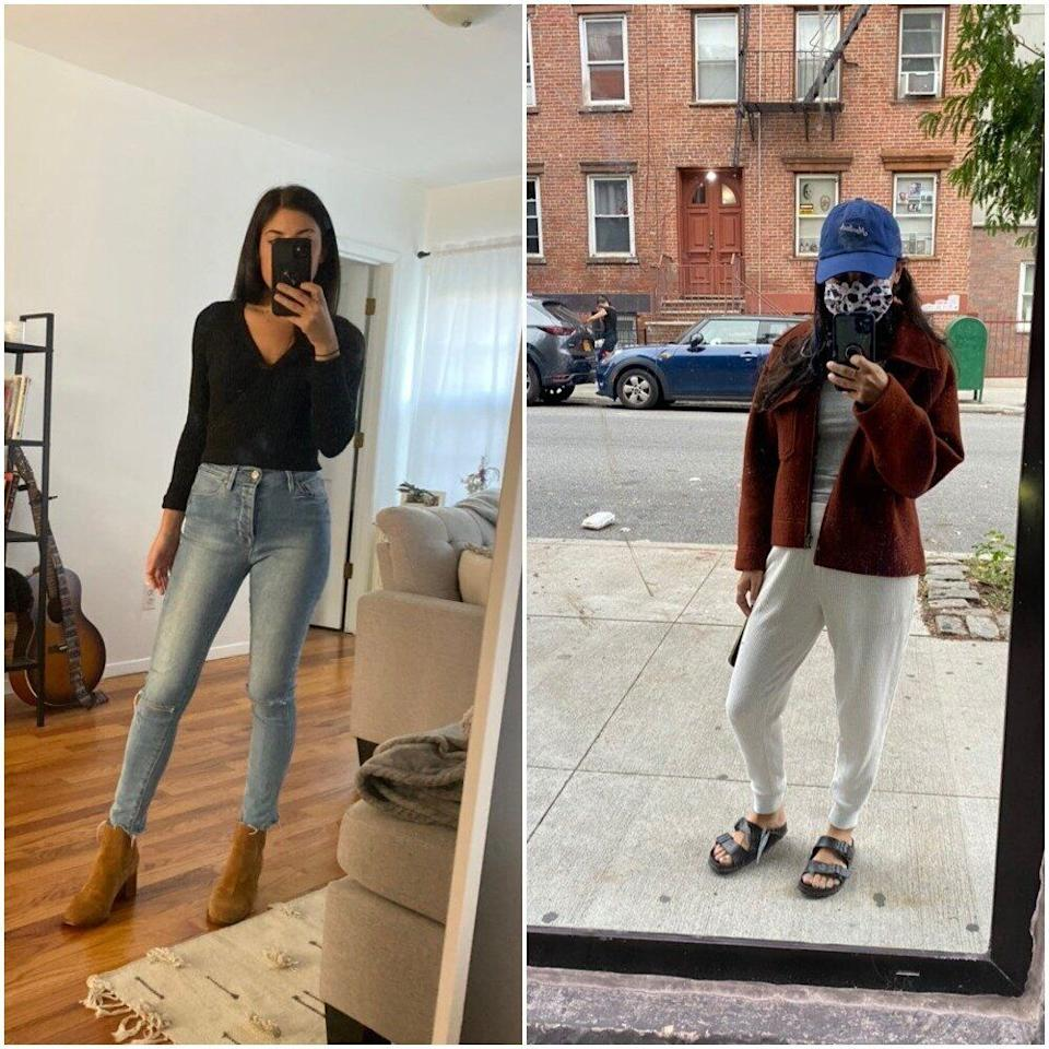 """""""The first outfit is my go-to fall outfit: skinny jeans with a cropped sweater and boots. I even did my hair and makeup. The second is: roll out of bed and change my top only, not bottoms, no bra, throw on a jacket, Birkenstocks and a hat to cover my undone hair and hide my face as much as possible :)."""""""