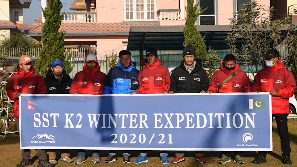 expedition team climbing K2
