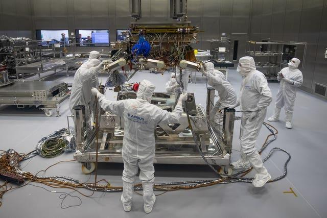 The Rosalind Franklin being prepared to leave Airbus in Stevenage