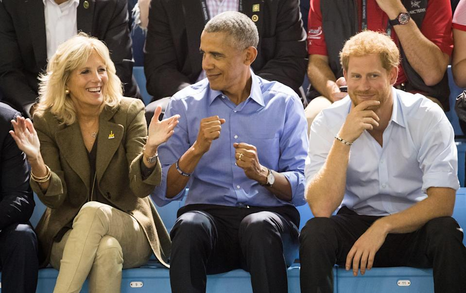 Jill Biden, Barack Obama and Prince Harry at the 2017 Invictus Games on Sept. 29, 2017, in Toronto. (Samir Hussein via Getty Images)