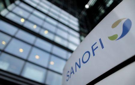 FILE PHOTO -  The logo of French drugmaker Sanofi is seen in front of the company's headquarters in Paris