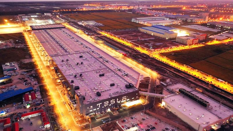 SHANGHAI, CHINA - OCTOBER 19 2019 Aerial photo taken on shows the tesla gigafactory at night in Shanghai, China.- PHOTOGRAPH BY Costfoto / Barcroft Media (Photo credit should read Costfoto / Barcroft Media via Getty Images)