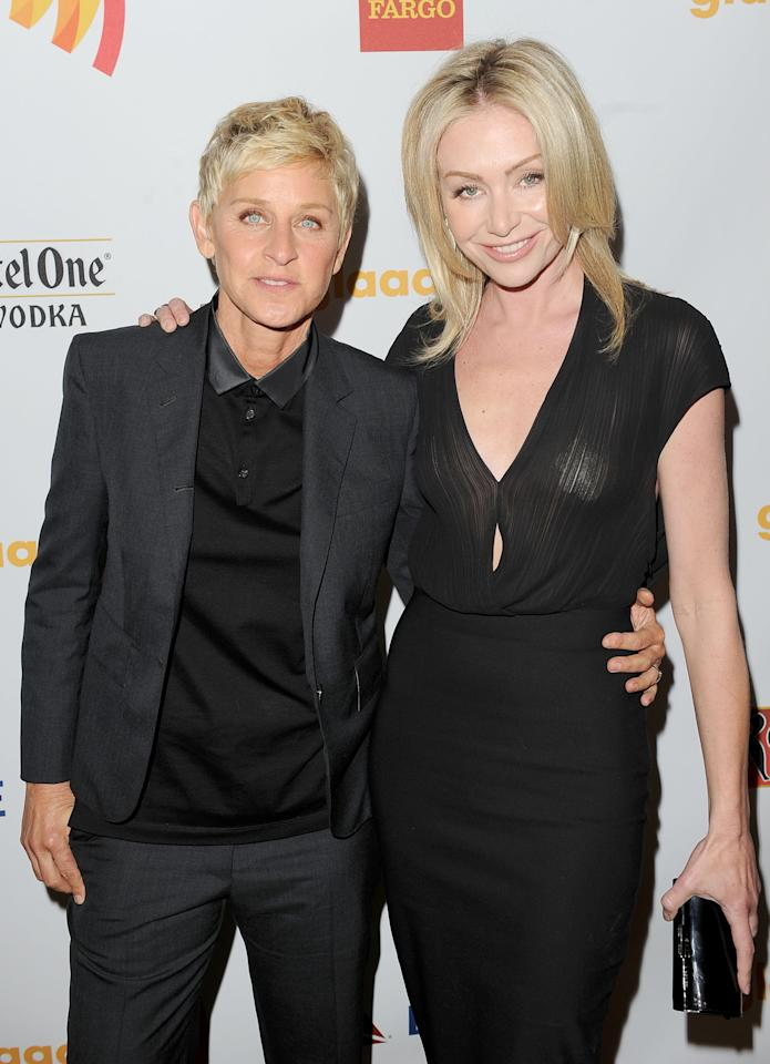 LOS ANGELES, CA - APRIL 21:  Comedian and TV Personality Ellen DeGeneres (L) and actress Portia de Rossi pose backstage at the 23rd Annual GLAAD Media Awards presented by Ketel One and Wells Fargo held at Westin Bonaventure Hotel on April 21, 2012 in Los Angeles, California.  (Photo by Jason Merritt/Getty Images for GLAAD)